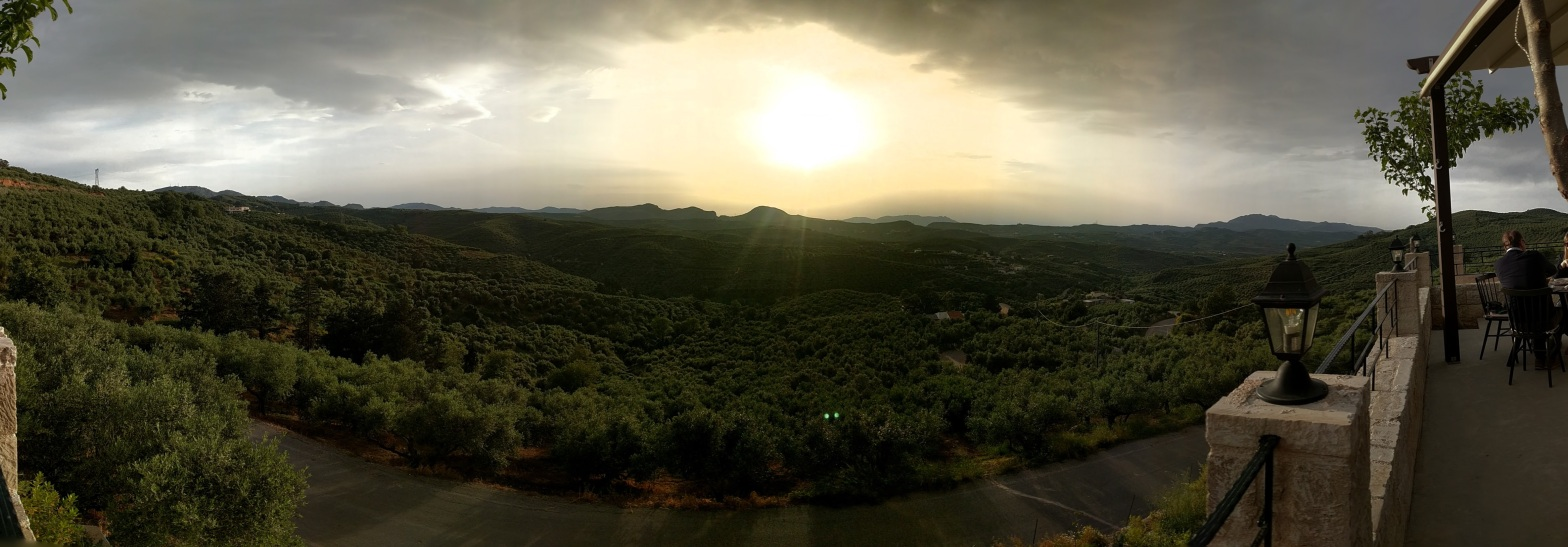 Wide shot sunset over vineyard in Agia Roumeli