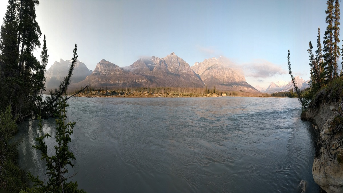 Mountains and lake at dawn
